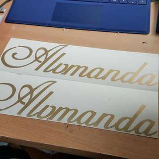 Customised Decal/ Sticker/ Names/ Gold/ Design