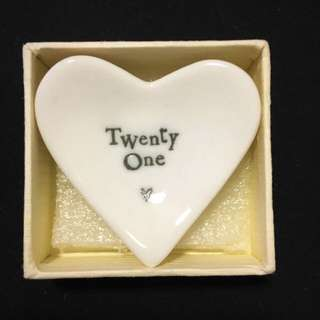 21st Birthday Gift - Porcelain Heart Dish By East Of India (with Gift Box)