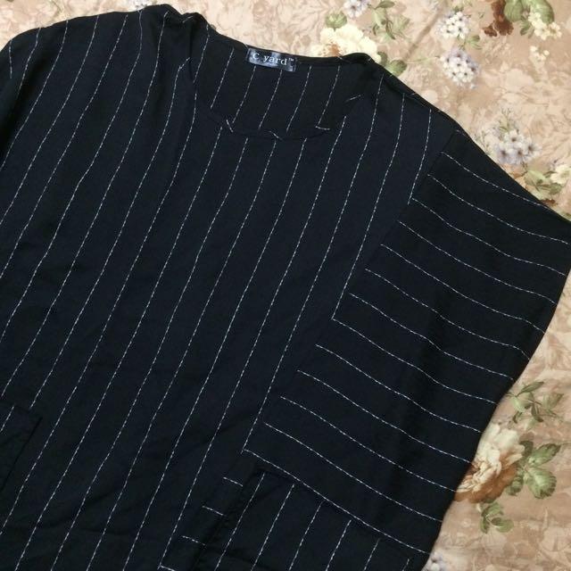 設計風不規則條紋長板洋裝