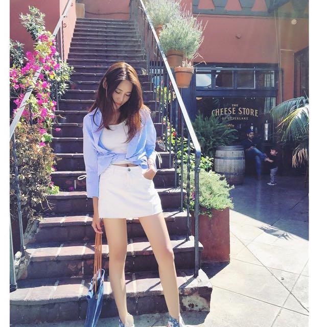 白色牛仔褲裙