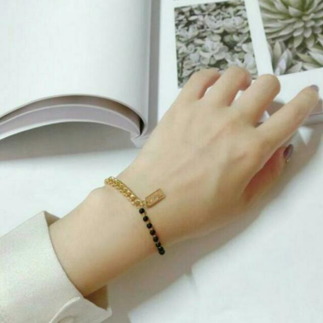 電鍍金黑色圓珠方片手鏈/混搭個性設計,電鍍金不易退色