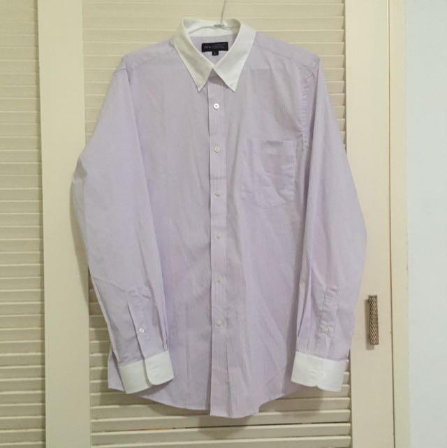 白領淺紫細條紳士襯衫 (Lativ)