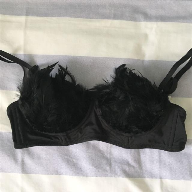 Black Feather Balconette Bra