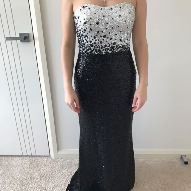 Black/silver Maxi Dress Size 8-10
