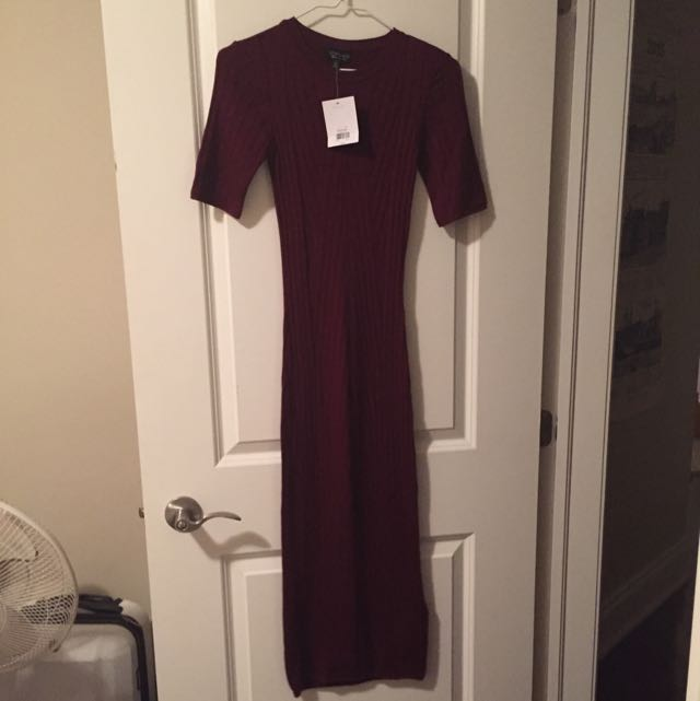 Burgundy Ribbed Size 4 Topshop Dress New With Tags