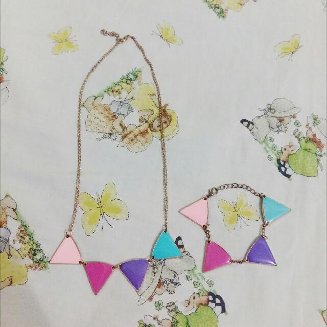 Colorful Triangle Necklace & Bracelet