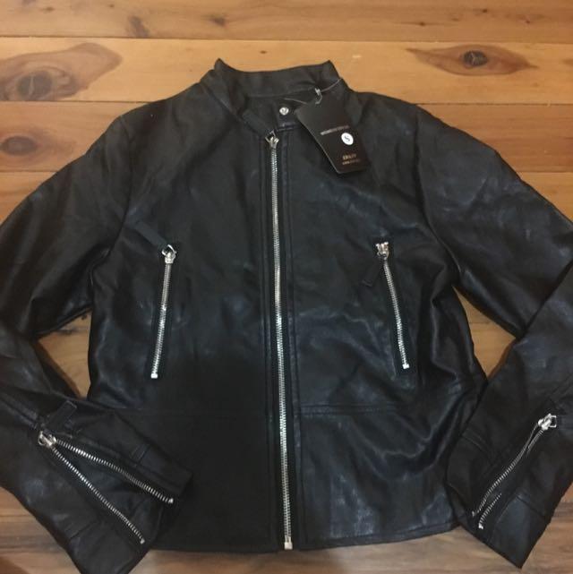 Dragon Print Leather Jacket