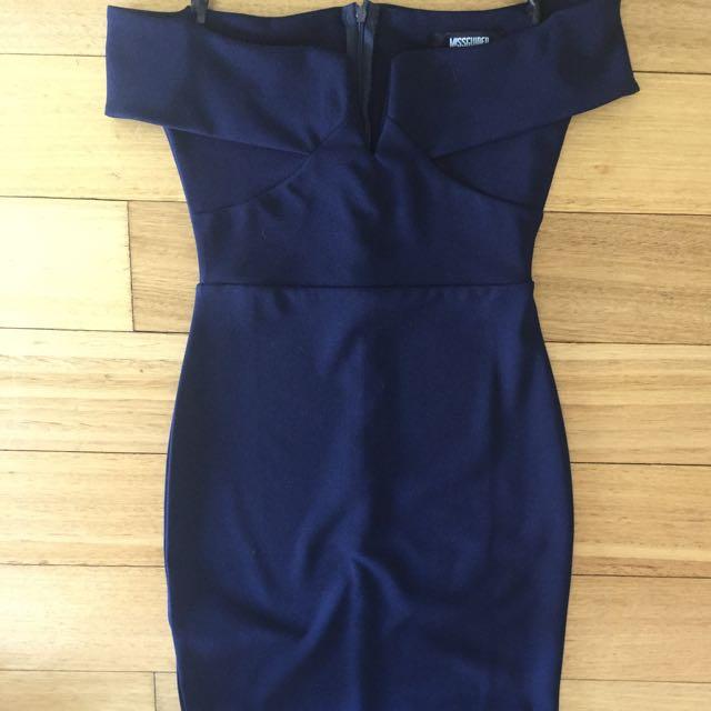 Missguided navy Off Shoulder Formal Dress
