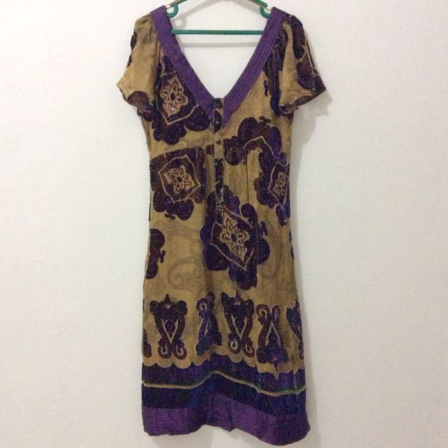 MANGO Gold Purple Party Dress