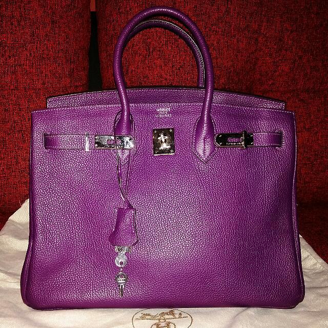 JUAL RUGI !!! Preloved HERMES Dark Purple 30cm