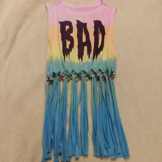 Rainbow Tie Die Fringed Beaded Cropped Top