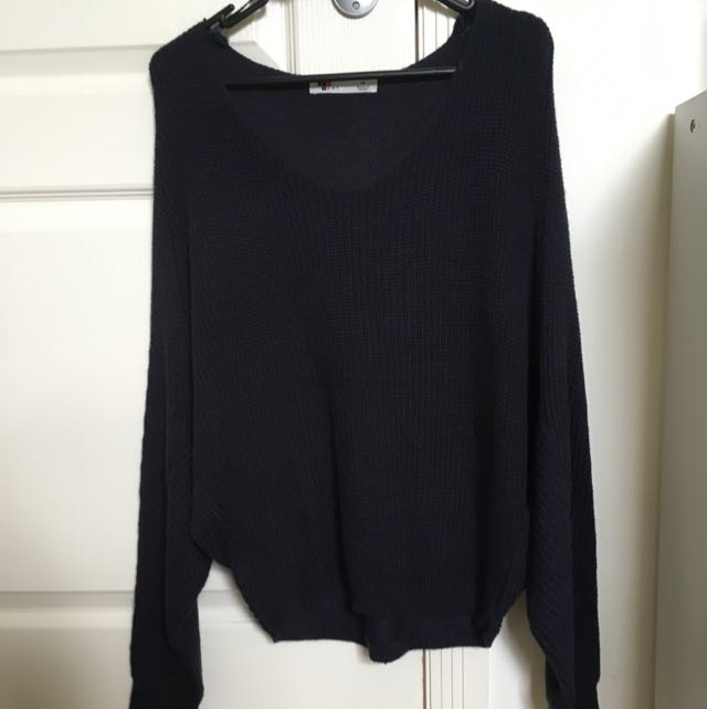Temt Navy Batwing Sleeve Knitted Jumper 8-10