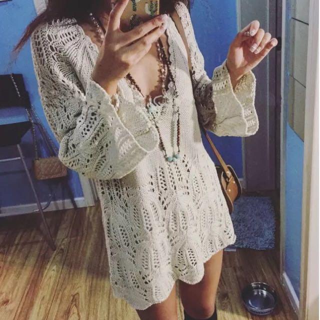 針織v領女神洋裝