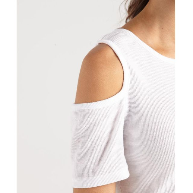 e0071e1bfbd4ea (WHITE) Cotton On Raine Ribbed Cold Shoulder Top