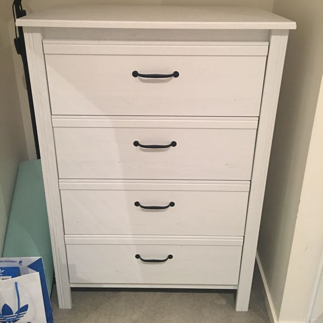 White Cupboard With 4 Drawers