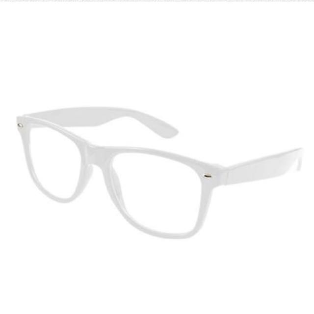 White No Lens Wayfarer Style Nerd Geek Retro Hipster Glasses Fancy Dress Costume