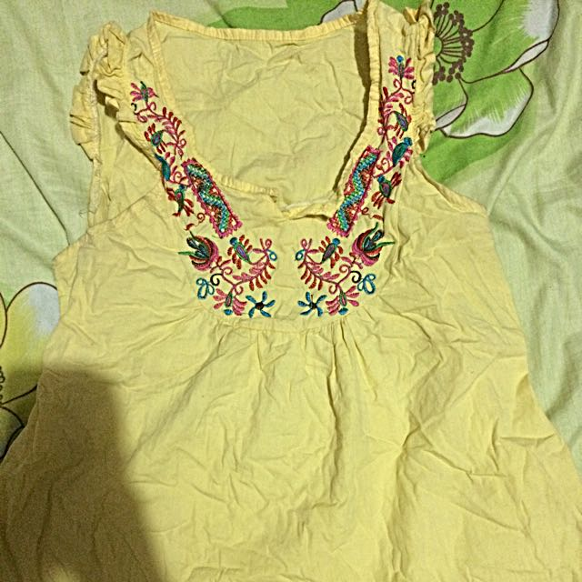 Yellow Boho Top