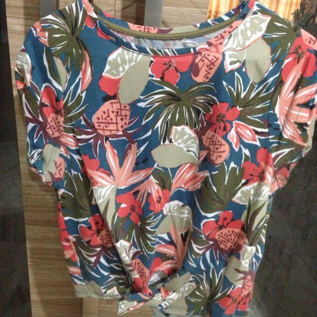Zara Trafaluc Flower Tie Shirt
