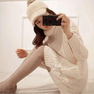 ❤LaLaNiCo❤秋冬韓國復古菱形麻花粗針織口袋高領毛衣裙 (黑/米白)