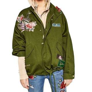 [PREMIUM] Army Green Floral Embroidery Bomber Jacket