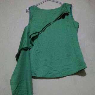 💞reserved💕satin green blouse