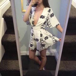 White Patterned Playsuit