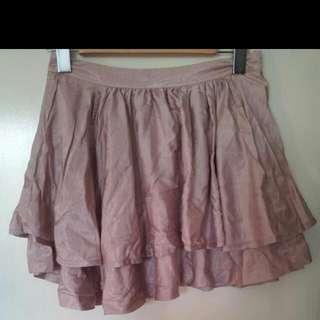 cute pink satin-look mini skirt sz. 8