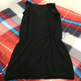 REPRICED BLack Mini Dress Zara Trafaluc Original - Hitam