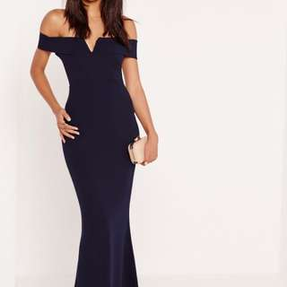 Bardot Navy V Plunge Maxi Dress