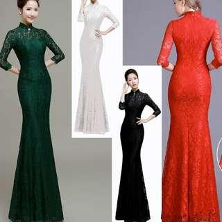 S790 Long Sleeve Lace Cheong Sam / 立领长袖蕾丝鱼尾连旗袍