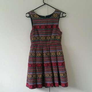 Aztec Print Skater Dress Size 6