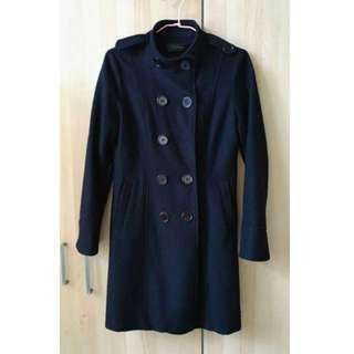 原價1600,韓貨羊毛大衣Gmarket 羊毛大衣  立領 軍裝 挺 雙排扣 腰帶 帥氣 風衣大衣長版大衣