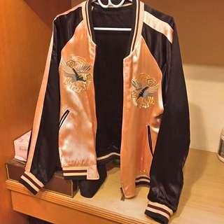 Zara歐美粉紅橫須賀刺繡外套