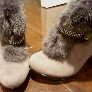 Fur Heel Boots - Grey With Swarovski Strap