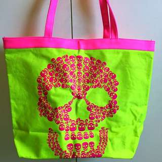 FREE SHIPPING! Neon Green Pink Large Tote Bag