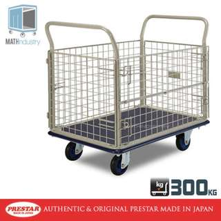 300kg with Removable Wire Mesh Sides Handtruck Heavy Duty Metal Trolley PRESTAR (Made in Japan)