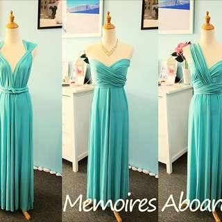 Convertible Long Dress - Tiffany Blue