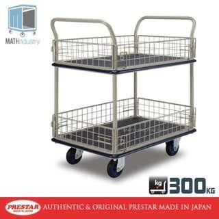 300kg Double Deck Side Net Mesh Trolley Heavy Duty Metal Handtruck PRESTAR (Made in Japan)