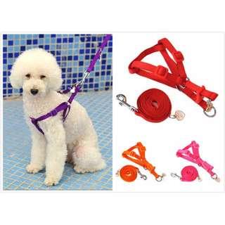 素色小型犬用 胸背帶 +牽繩  寵物 【狗狗研究所】