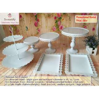 Rent Cake Stands & Trays for Dessert Table Candy Bar