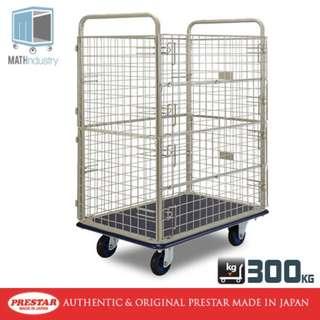 300kg Double Side Wire Mesh Net Trolley Heavy Duty Metal Platform Handtruck PRESTAR (Made in Japan)