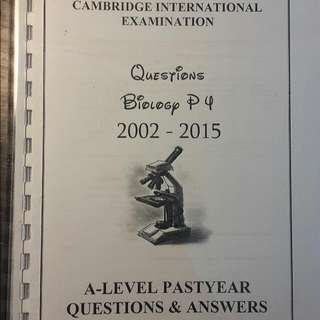 A Level Past Year Questions Biology P4 + Mark Scheme