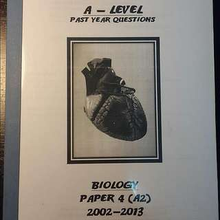 A Level Past Year Questions Biology Paper 4