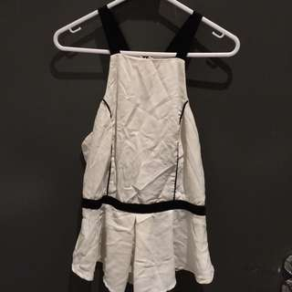 Black And White Singlet Top (size 8)