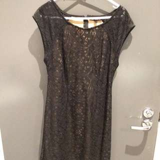 Black And Nude Lace Detail Dress (size S)