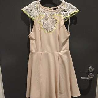 Nude And Lace Detail Dress (size 8)