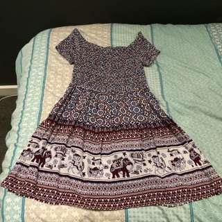 Off The Shoulder Boho Dress (size S)