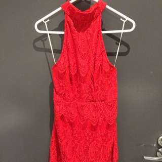 Red Lace Low Back Dress (size 8)