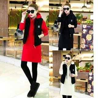 韓版大碼連帽時尚三件套長版上衣背心長褲加厚加絨保暖休閒套裝