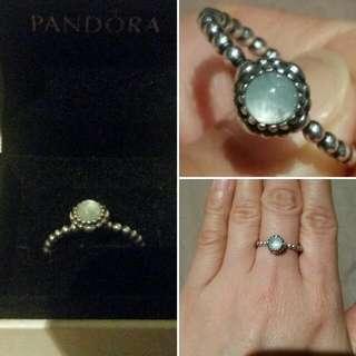 Pandora Aquamarine March Birth Ring (Authentic)